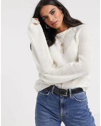 Vila Balloon Sleeve Rib Knitted Sweater - Multicolor