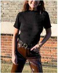 Weekday Elfrida Short Sleeve High Neck Smocked Top - Black