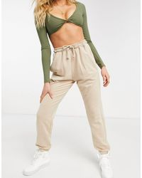 Missguided – Fleece-Jogginghose - Natur