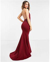 True Violet Black Label Halterneck Maxi Gown With Fishtail Hem - Red