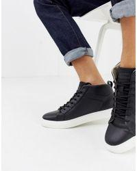 Jack & Jones High Top Sneaker With Contrast Sole - Black