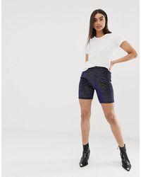 Missguided – Dunkelblaue Legging-Shorts aus Samt