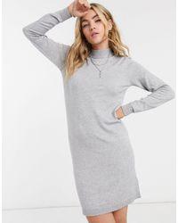 Object Thess Knit Mini Jumper Dress - Grey