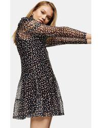 TOPSHOP Разноцветное Платье Мини С Цветочным Принтом -многоцветный - Черный