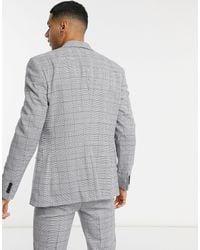 TOPMAN Giacca da abito monopetto skinny grigia a quadri - Grigio