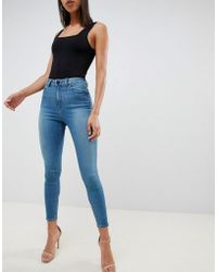 ASOS Ridley High Waisted Skinny Jeans In Mid Green Blue Tone Wash