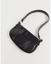 ASOS Croc Effect 90s Shoulder Bag - Black