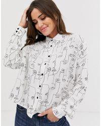 ASOS Long Sleeve Cropped Shirt In Sketchy Faces Print - Gray