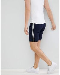 ASOS - Slim Mid Length Smart Shorts In Navy With Side Stripes - Lyst