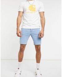 ASOS Spray On Denim Shorts With Power Stretch - Blue