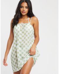 Missguided Сетчатое Пляжное Платье В Клетку -многоцветный