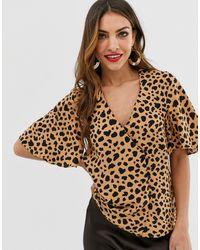 Warehouse Top léopard boutonné sur les côtés - Multicolore