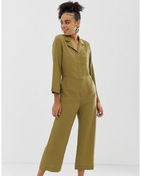 Monki Cropped Utility Jumpsuit - Green