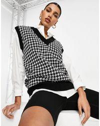 Naanaa Débardeur tricoté à motif pied-de-poule - Noir