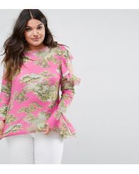 ASOS - Top With Ruffle Cold Shoulder In Scenic Print - Lyst