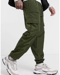 Pull&Bear Slim Fit Nylon jogger - Green