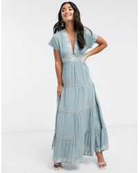 Y.A.S . Selma Embroidered Tiered Maxi Dress - Blue