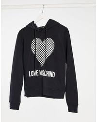 Love Moschino Черное Худи С Принтом В Виде Сердца И Шахматным Узором -черный