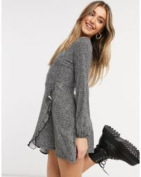 Pull&Bear Frill Wrap Detail Mini Dress - Grey