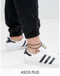 ASOS DESIGN - Plus Leather Anklet With Feather - Lyst