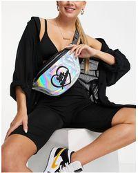 Love Moschino Черная Сумка-кошелек На Пояс С Голографической Отделкой -серебристый - Металлик