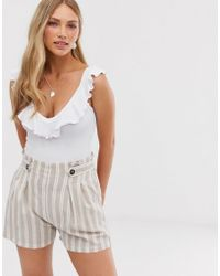 Stradivarius - Frill Detail Body In White - Lyst