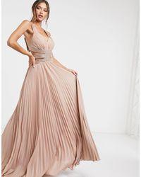 Forever Unique - Розовое Платье Макси Со Шнуровкой Сзади -розовый Цвет - Lyst