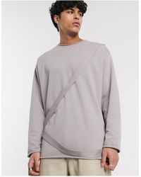 ASOS Sweat-shirt long oversize à bords bruts et détail sangles - délavé - Gris