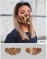 ASOS – Unisex – Gesichtsmasken mit Tierfellmuster, 2er-Pack - Mehrfarbig