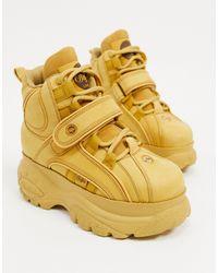 Buffalo Светло-коричневые Высокие Кожаные Ботинки На Массивной Подошве -светло-коричневый - Желтый