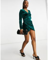 Flounce London Velvet Wrap Dress With Ruched Side - Green
