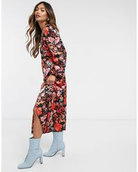 Vero Moda Платье Миди С Разрезом И Цветочным Принтом Красного Цвета -мульти - Красный