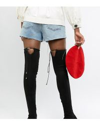 ASOS - Asos Design Tall Kaska Flat Studded Thigh High Boots - Lyst