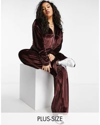Fashionkilla - Эксклюзивные Велюровые Брюки От Комплекта Широкого Кроя Шоколадного Цвета -коричневый Цвет - Lyst