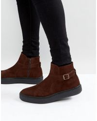 ASOS - Chelsea Boots In Brown Suede With Black Creeper Sole - Lyst