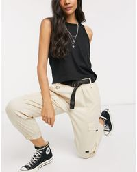 Bershka Utility Belted Cargo Trousers - Natural