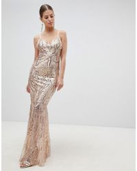 Club L - Fully Embellished Sequin Cami Strap Fishtail Maxi Dress - Lyst