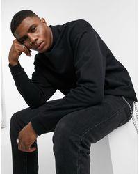 ASOS Oversized Sweatshirt With Turtle Neck - Black