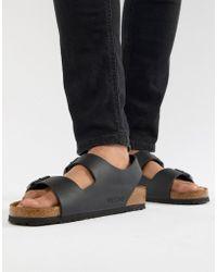 Birkenstock - Milano Birko-flor Sandals In Black - Lyst