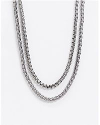 Reclaimed (vintage) Inspired Double Layered Chunky Neckchain - Metallic