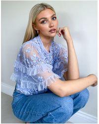 Needle & Thread Пыльно-синий Топ С Декоративной Отделкой От Комплекта Aurelia-голубой