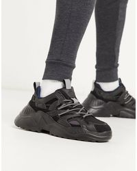 Pull&Bear Chunky Trainers With Iridescent Panel - Black