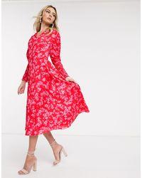 Never Fully Dressed Платье Мидакси С Цветочным Принтом И Присборенной Отделкой -мульти - Красный
