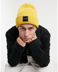 Bershka Thick Patch Beanie - Yellow