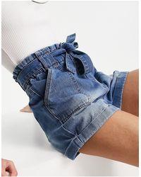 Urban Bliss Pantaloncini a vita alta lavaggio medio - Blu