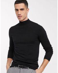 ASOS Muscle Fit Merino Wool Turtle Neck Jumper - Black