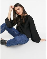 ASOS Satin Blouse With Cowl Back And Flared Sleeve - Black