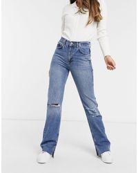 Pull&Bear 90s Straight Leg Jean With Rips And Split Hem - Blue