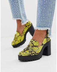 London Rebel Chunky Platform Shoes In Yellow Snake