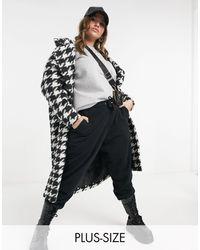 Simply Be Manteau oversize à motif pied-de-poule - Multicolore
